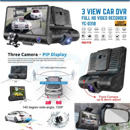 3 VIEW CAR DVR FULL HD VIDEO RECORDER YC-D318