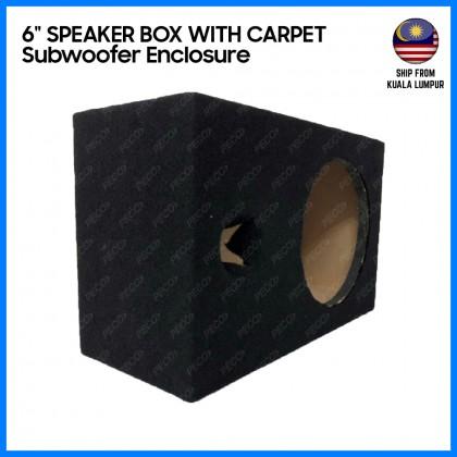 "Car Speaker Box Single 6"" Ported Subwoofer Enclosure with Carpet"